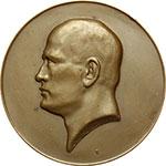 obverse:     Benito Mussolini (1883-1945). Medaglia A. VI (1928).