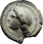 reverse:  Apollo/Apollo series.  AE As, after c. 280 BC.