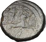 reverse:  Anonymous series. AE Quadrigatus (fourrée core), 225-212 BC.