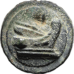 reverse:  Libral (Janus/Prow to right) series. AE As, 225-217 BC.