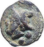 obverse:  Libral (Janus/Prow to right) series. AE Sextans, c. 225.217 BC.