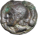 obverse:  Libral (Janus/Prow to right) series. AE Uncia, c. 225-217 BC.