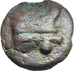 reverse:  Libral (Janus/Prow to right) series. AE Uncia, c. 225-217 BC.