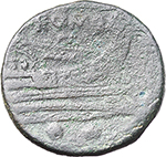 reverse:  Semilibral series. AE Sextans, c. 217-215 BC.