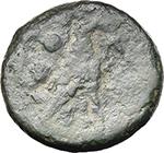 reverse:  Semilibral anomalous series. AE Sextans, c. 217-215 BC.
