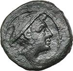 obverse:  Corn-ear series. AE Semuncia, SIcily c. 214-212 BC.