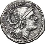 obverse:  Anonymous series. AR Quinarius, c. 214-213 BC.