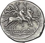 reverse:  Anonymous series. AR Quinarius, c. 214-213 BC.
