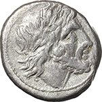 obverse:  Anonymous series. AR Victoriatus, 211-208 BC.