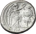 reverse:  Anonymous series. AR Victoriatus, 211-208 BC.