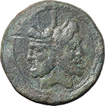 obverse:  Sextantal series. AE As, after 211 BC.