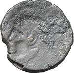 reverse:  Sextantal series. AE Brockage Quadrans, after 211 BC.