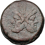 obverse:  Apex and hammer series. AE As, Central Italy, c. 211-208 BC.
