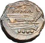 reverse:  Victory series. AE Triens (light series, 211-208 BC., Central Italy.