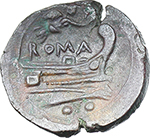 reverse:  Victory series. AE Sextans (light series), 211-208 BC., Central Italy.