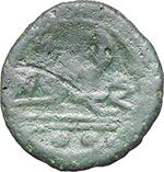 reverse:  P. Manlius Vulso. AE Sextans, c. 210 BC., Sardinia.