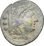 obverse:  Corn-ear series. AE Quadrans, Sicily, c. 211-210 BC.
