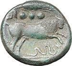 reverse:  Corn-ear series. AE Quadrans, Sicily, c. 211-210 BC.