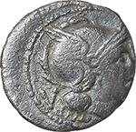 obverse:  ROMA in monogram series. AE Quinarius, 211-210 BC., South East Italy.