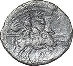 reverse:  ROMA in monogram series. AE Quinarius, 211-210 BC., South East Italy.