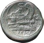reverse:  ROMA in monogram series. AE Semis, South East Italy, c. 211-210 BC.