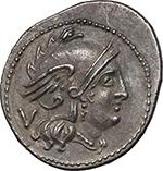 obverse:  MT series. AR Quinarius, 211-210 BC., Apulia (?).