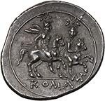 reverse:  MT series. AR Quinarius, 211-210 BC., Apulia (?).