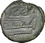 reverse:  A. Caecilius. AE As, c. 169-158 BC.