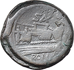 reverse:  C. Sax. series. AE As, Central Italy, c. 169-158 BC.