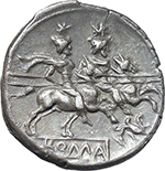reverse:  Gryphon and hare s head series. AR Denarius, 169-158 BC.