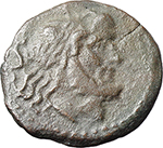 obverse:  Gryphon and hare s head (?) series. AE Semis, c. 169-158 BC.