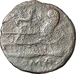 reverse:  Gryphon and hare s head (?) series. AE Semis, c. 169-158 BC.