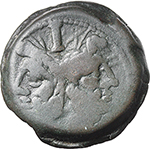 obverse:  Wolf and twins series. AE As, c. 169-158 BC.