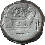 reverse:  Wolf and twins series. AE As, c. 169-158 BC.