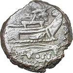 reverse:  Butterfly and vine branch series. AE Triens, c. 169-158 BC.