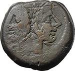 obverse:  Q. Opimius. AE As, c. 169-158 BC.