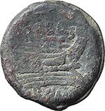 reverse:  P. Cornelius P.f. Blasio AE As, c. 169-158 BC.