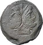 obverse:  Anchor (third) series. AE As, c. 169-158 BC.
