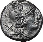 obverse:  Anonymous issue. AR Denarius, 157-156 BC.