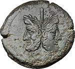 obverse:  Pinarius Natta. AE As, 155 BC.
