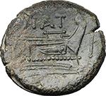 reverse:  Pinarius Natta. AE As, 155 BC.