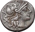 obverse:  L. Saufeius. AR Denarius, 152 BC.