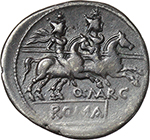 obverse:  Q. Marcius Libo.  AR Denarius, 148 BC.