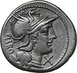 reverse:  Q. Marcius Libo.  AR Denarius, 148 BC.