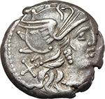 obverse:  C. Renius. AR Denarius, 138 BC.