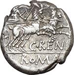reverse:  C. Renius. AR Denarius, 138 BC.