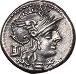 obverse:  M. Marcius Mn. f.  AR Denarius, 134 BC.