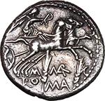 reverse:  M. Marcius Mn. f.  AR Denarius, 134 BC.