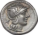 obverse:  L. Caecilius Metellus Diadematus. AR Denarius, 128 BC.