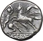 reverse:  C. Servilius Vatia. AR Denarius, 127 BC.